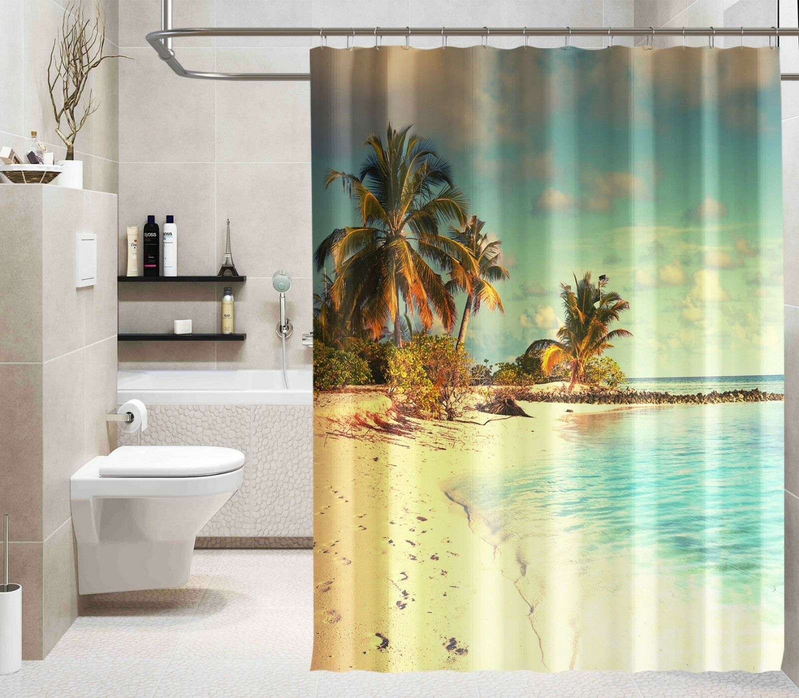 3D Palm Beach Stran 8 Duschvorhang Wasserdicht Faser Bad Daheim Window Toilette | Neuheit