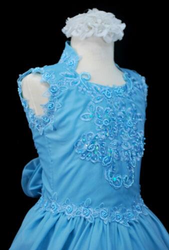 Girl National Pageant Wedding Party Formal Dress AQUA BLUE sz:3,4,5,6,7,8,10-14