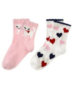 GYMBOREE-HOMECOMING-KITTY-HEARTS-N-KITTY-2-PAIR-OF-GIRLS-SOCK-3-4-5-7-8-9-NWT