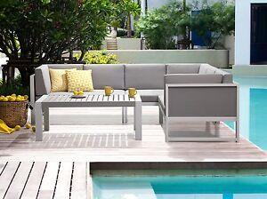 Terrassenmöbel  Gartenmöbel Weiss-Grau Balkonmöbel Set Loungemöbel Terrassenmöbel ...