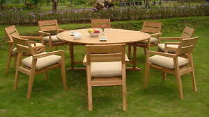 9-PC-OUTDOOR-DINING-TEAK-PATIO-SET-72-034-ROUND-TABLE-amp-8-STACKING-ARM-CHAIRS