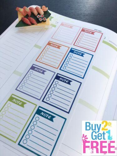 Planner Stickers Erin Condren S185-Note Checklist,Note Checklist Boxes