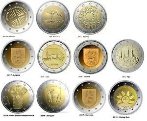 LATVIA-11-x-2-Euro-commemorative-coin-2014-2019-Complete-collection