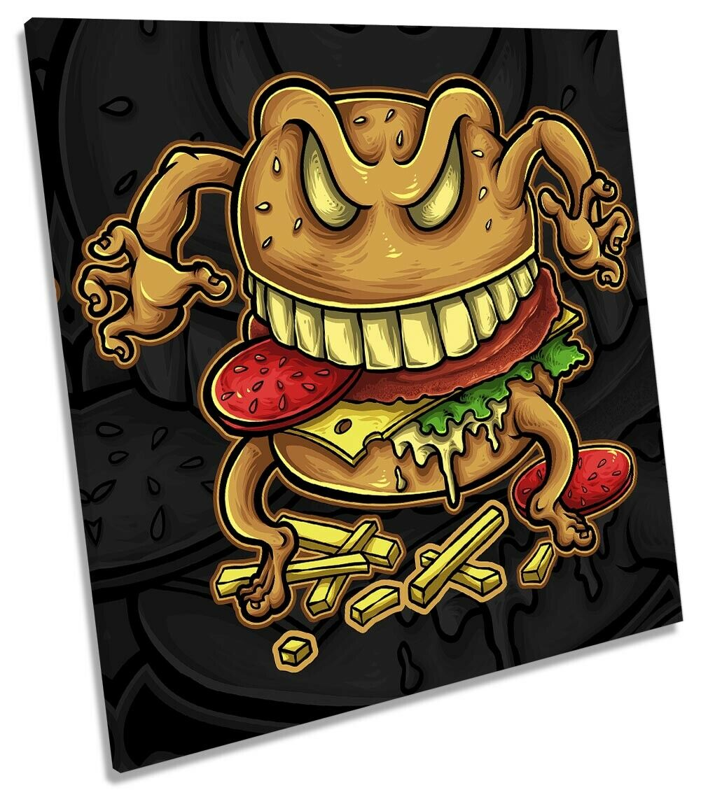 Hamburger Character Picture CANVAS WALL ART Square Print