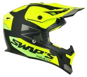Casque-motocross-SWAP-039-S-BLUR-S818-Noir-Jaune-Fluo-Vert-Mat