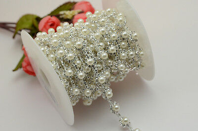 1 yard costume pearls rhinestone applique trims silver A837
