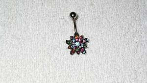 Multi-Color-Flower-Belly-Button-Navel-Ring-Body-Jewelry-Piercing
