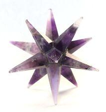 REIKI ENERGY CHARGED POWERFUL AMETHYST 12 POINT STAR CRYSTAL 5-6 CM MERKABA