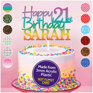 PERSONALISED-Happy-21st-Birthday-Acrylic-Cake-Topper-ANY-NAME-AGE-18-30-40-50-60