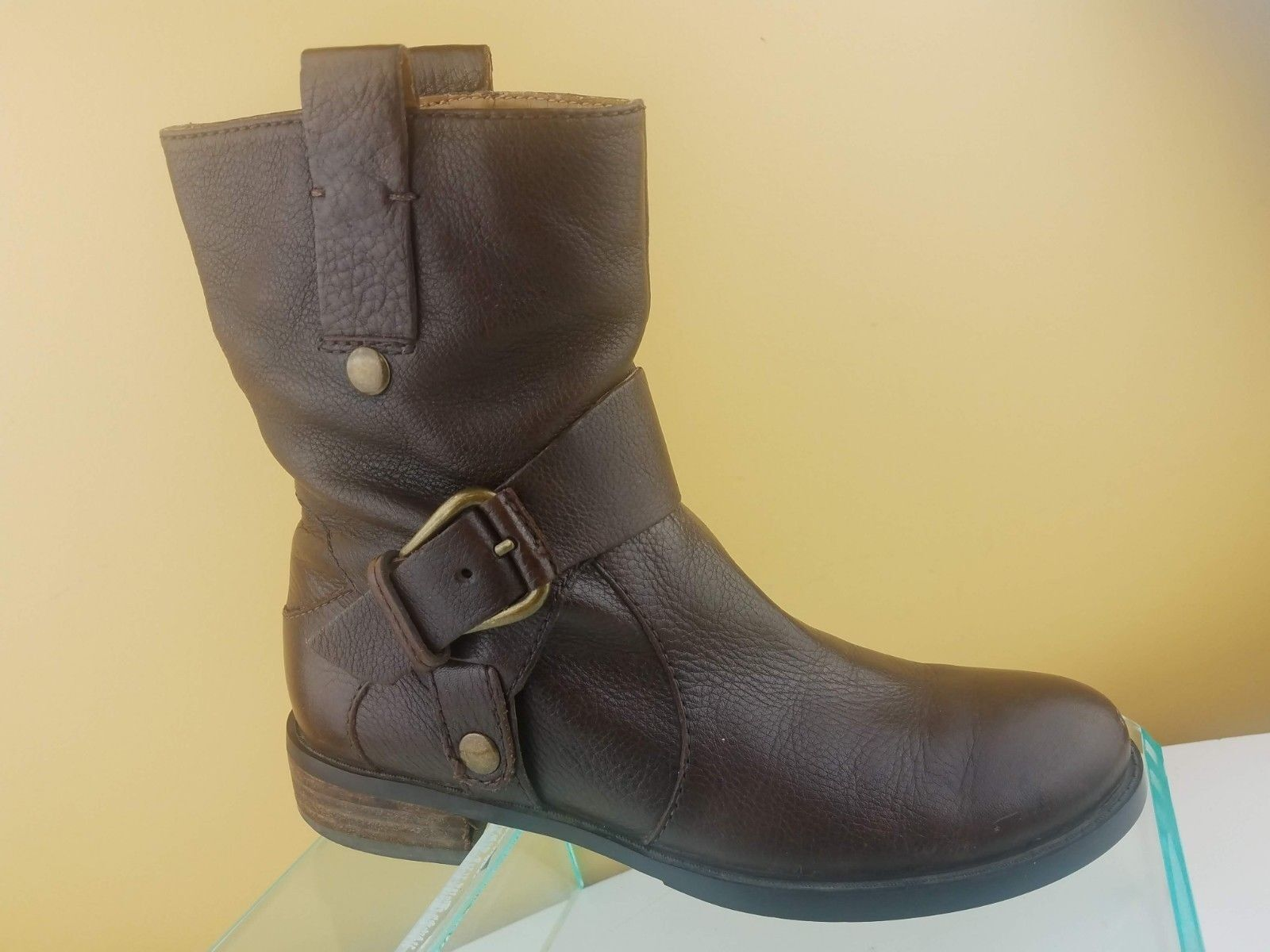 Nine West Tamzie Brown Leather Zip Up Buckle Moto Ankle Boots Womens Sz 5.5 M