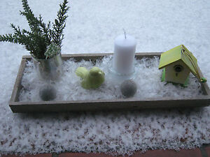 Winter Deko Schnee Dekoschale Holzschale Mit Kerzen Tablett Holz
