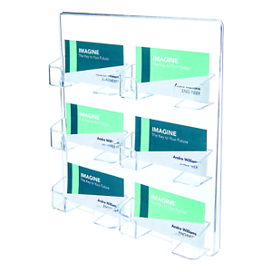 Wall Mount 6 Pocket Clear Plastic Wall Mount Business Card Holder