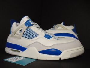 06 Nike Air Jordan IV 4 Retro WHITE MILITARY BLUE CEMENT GREY OG ... 35bb48bca