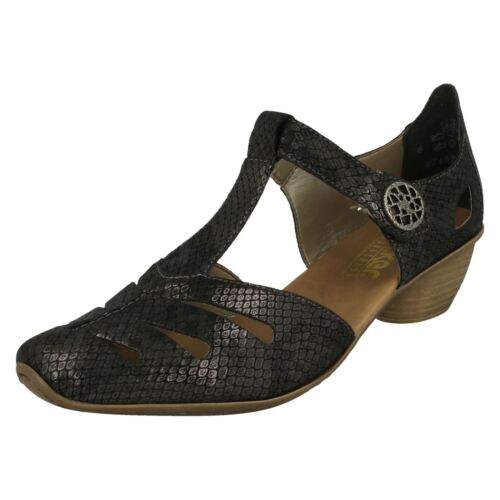 Womens '43750' Grey Bar Rieker T Shoes Heeled qrOqgFzS