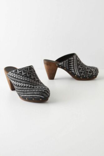 Anthropologie Shoes Clogs High Heels Patterned Spinning Wheel By Sanita Size 40