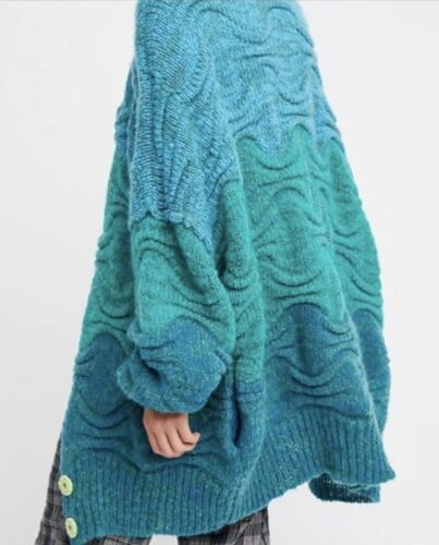 NEW Free People Aquatic Oversized Cardi Size Small Cardigan Sweater