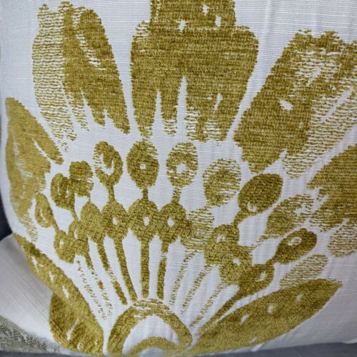"""Coussin décoratif couverture 18/"""" x18"""" Designer tissu bleu marine et ocre motif floral"""