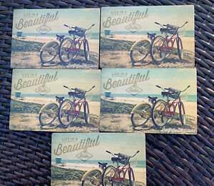 LOT-OF-5-LIFE-IS-BEAUTIFUL-BICYCLES-LBI-BEACHES-LARGE-WOODEN-POSTCARDS-NEW
