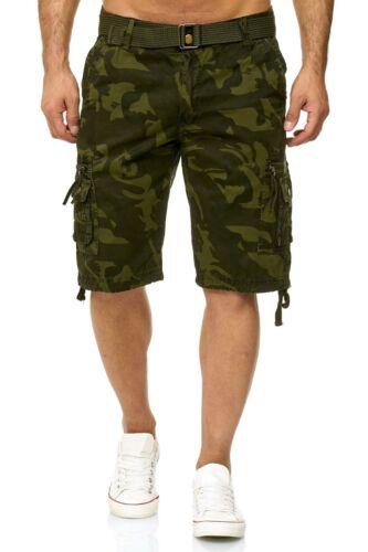 Herren Cargo Shorts Bermuda Army Short Kurze Hose Cargoshort mit Gürtel CS1813