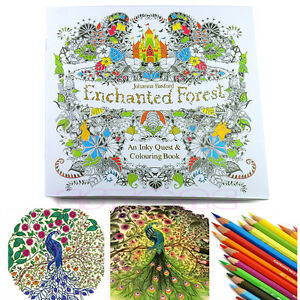 Image Is Loading An Inky Enchanted Forest Treasure Hunt And Coloring