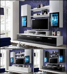 wohnwand anbauwand wohnzimmer schrankwand mini hochglanz. Black Bedroom Furniture Sets. Home Design Ideas