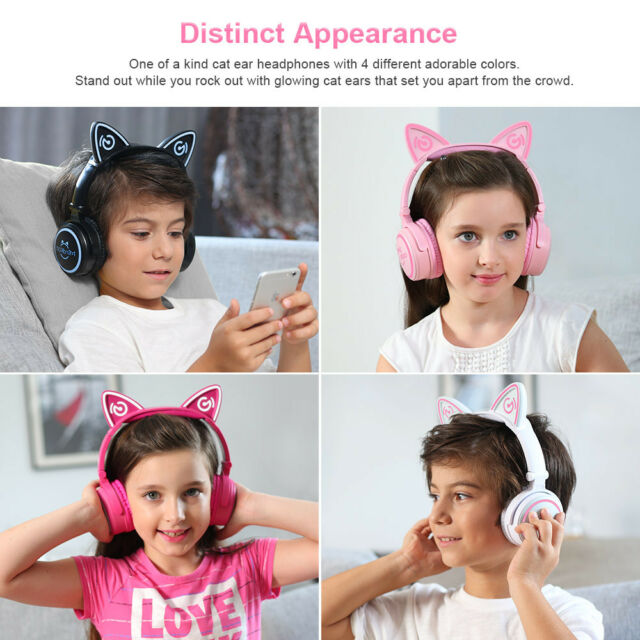 Foldable Mindkoo Cat Ear Wireless Bluetooth Headset Headphone Ear-Cup For iPhone