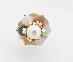 Vintage-60-s-14k-Yellow-Gold-Pearl-Jade-Quartz-Princess-Style-Ring-Val-2100