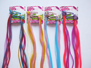 Pair-of-Kids-Childrens-My-Little-Pony-Glitter-Hair-Clips-with-Long-Faux-Hair
