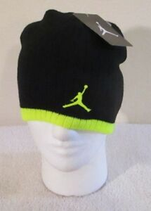 7cb063b9 NWT Nike Jordan Jumpman Youth Boys Knit Beanie Hat 8/20 Black/Volt ...