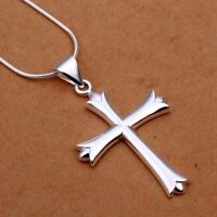 Womens/mens 2 Cross Necklace 925 Sterling Silver 18 22 24 Snake Chain