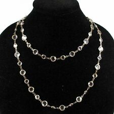 "CHANEL NECKLACE - 41"" CLEAR GLASS GRIPOIX BEAD GOLD SAUTOIR VINTAGE 1981 CHARM"