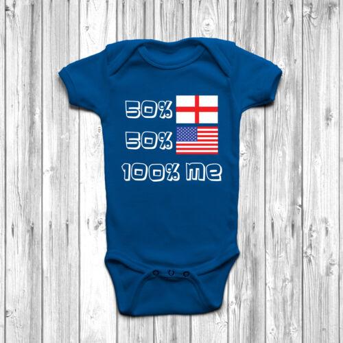 50/% English 50/% American 100/% Me Baby Grow Body Suit Vest England USA