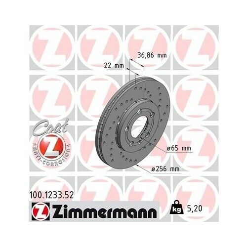 FAW 2 disque de frein Zimmermann 100.1233.52 Sport Coat Z adapté pour VAG VW