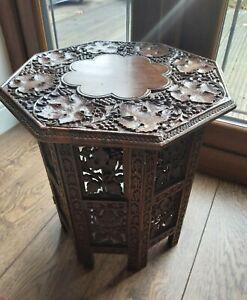 ANTIQUE-INDIAN-CARVED-HARDWOOD-OCTAGONAL-TABLE