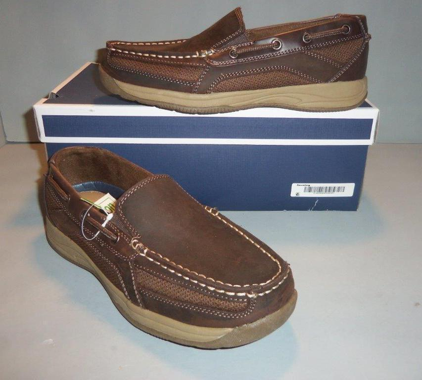 Croft & Barrow Men's Slip On Boat shoes Brown NIB SIZES  NEW Distressed Leather
