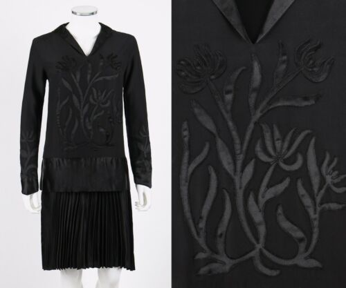 VTG 1920s COUTURE Black Georgette Pleated Flapper