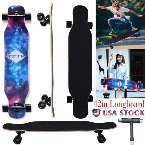 42 Inch Maple Drop Through Deck Complete Longboard Skateboard Cruiser USA