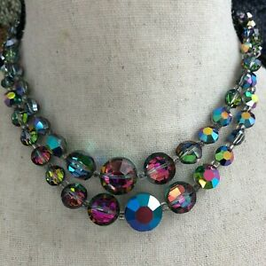 Vtg-GUILIANO-Fratti-Milan-GM-Brilliant-Peacock-Glass-AB-Glass-Crystal-Necklace