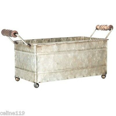 Farm House Galvanized Metal Container With Wood Handles