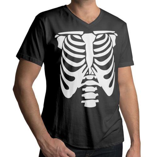 Rib Cage Body Skeleton Halloween Cool Funny Fun Mens Unisex V-Neck Tee T-Shirt