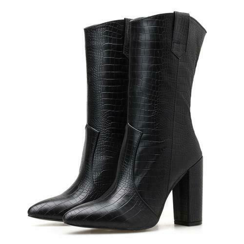 Details about  / New Women Crocodile Print Pointy Toe Block Heel Mid-calf Boots Cowboy Western D