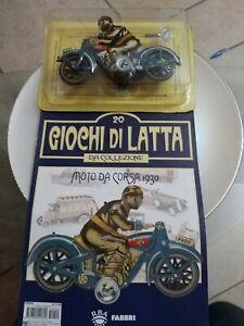 GIOCO IN LATTA MOTO DA CORSA 1930 Anni 60  Made in Japan da collezione+Rivista