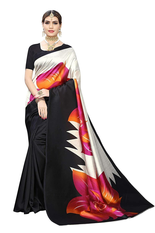 Indian Women's Designer Art Silk Print Saree With Blouse Piece Pink Free Shippin