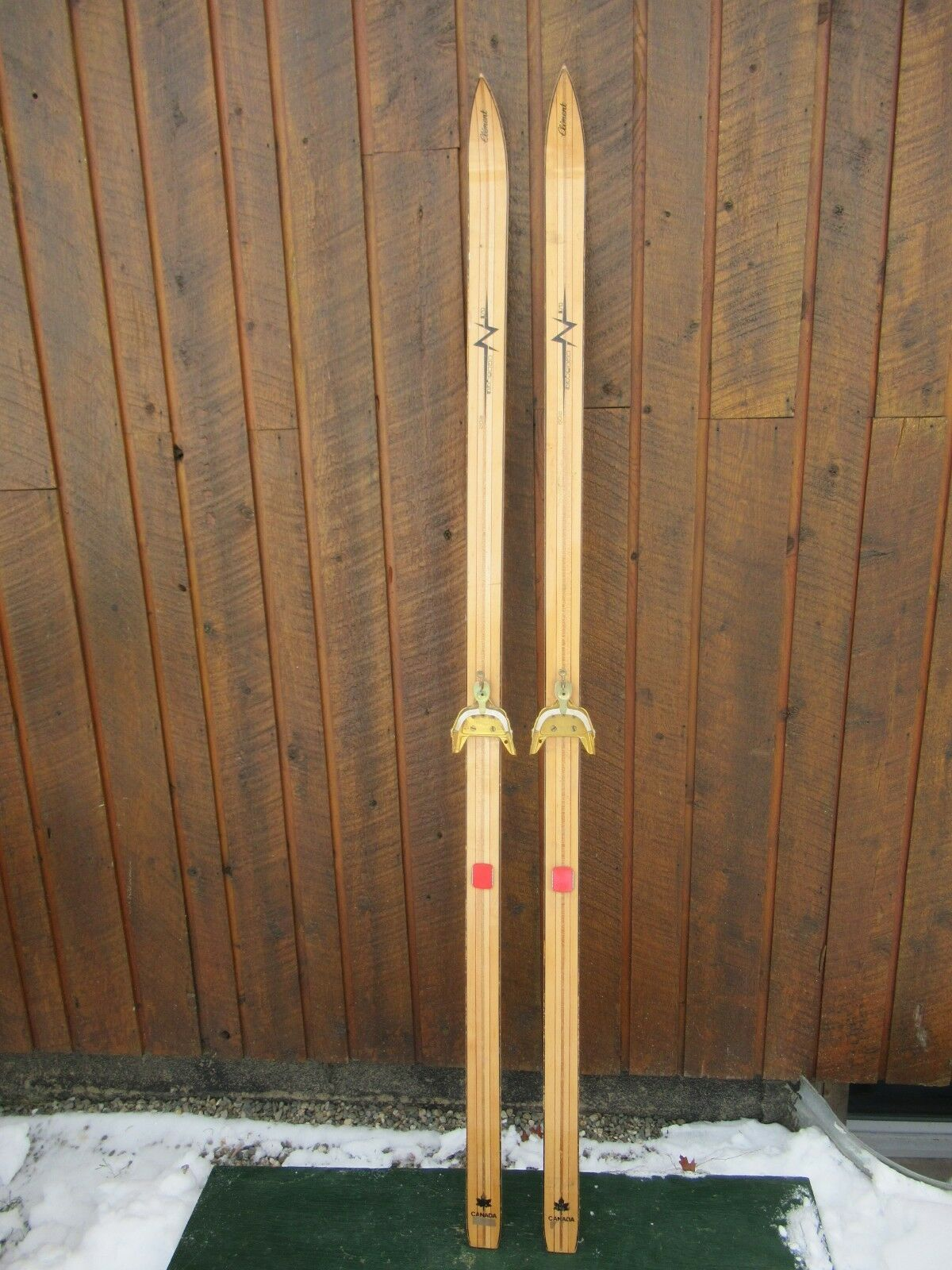 INTERESTING OLD Skis 76   Long BLOND Finish Signed CLEMENT with Metal Bindings