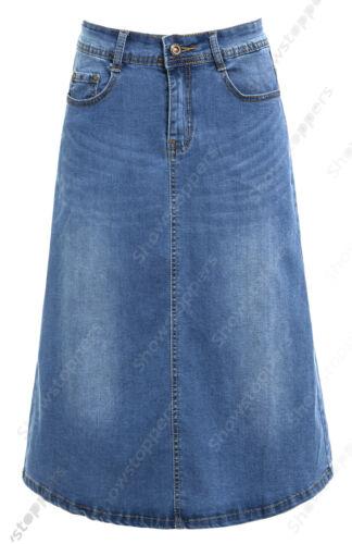Damen Midi Jeansrock Mittlere waschung Eine linie Split Denim Röcke Size 6 8 10