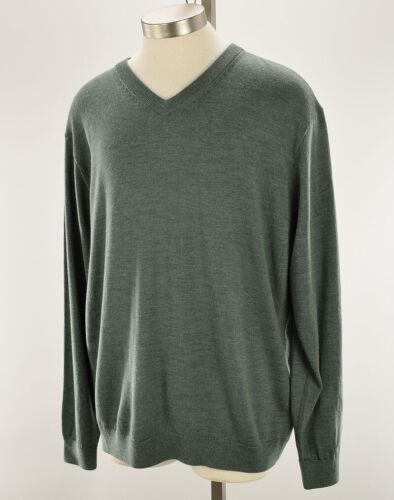 HART SCHAFFNER MARX Mens Sage Heather V Neck Pullover Merino Wool Sweater XL NWT