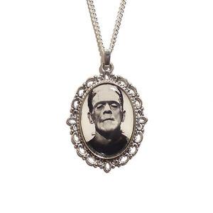 Frankenstein-039-s-monster-necklace-gothic-silver-Frankenstein-horror-Boris-Karloff