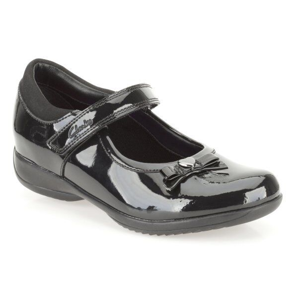 G /& H Fitting BNIB Clarks Girls Movello Black Leather School Shoe F