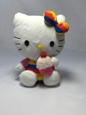 """Hello Kitty Rainbow Cupcake Ty Beanie Baby Sanrio 2011 Plush Stuffed Animal 6"""""""