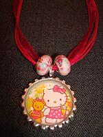 Pretty Pink Ribbon Cord Bottle Cap Charm Necklace Hello Kitty Cat & Teddy Bear